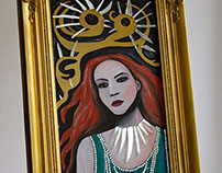 Sequin Girl In Gold Frame