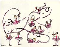 Dancing Girls - Moleskine Notebook Ink & Watercolor Art
