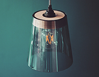 T1 - Plywood and Glass Pendant Light Shade