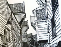 BRYGGEN // BERGEN CITY INK DRAWING