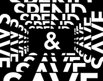 Spend & Save typeface design poster