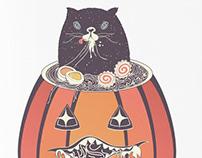 Ramen and cat in the pumpkin
