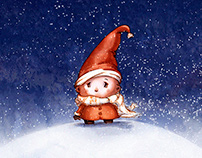 Tiny Elf Christmas illustration