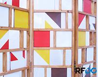 SCRETI screen - wood and tile folding screen