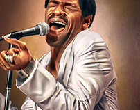 Al Green Digital Oil Painting by Wayne Flint