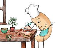 Veggie Outlaws - cookbook illustrations