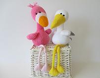 Flamingo and Stork