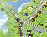 Master plan for cottage village 13000х13000 px