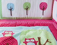 Clément - Pink owls baby bedding