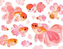 Cherry blossom Goldfish galaxy THEME & sticker
