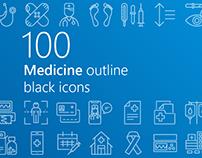 Medicine outline iconset