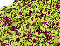 Ruched Floral Textile