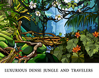 luxurious thick jungle and funny characters travelers