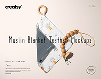 Muslin Swaddle Wooden Teether Mockup Set (05/LFv.2)