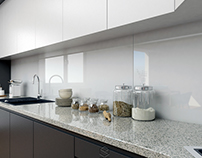 Kitchen with grey frame