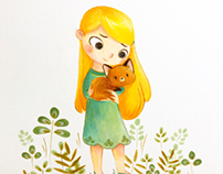 Little fox and girl