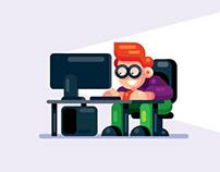 Flat Design Character Man on the Desktop Computer