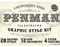 Penman Vintage Victorian Graphic Styles for Illustrator