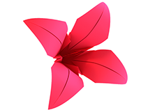 3D model of origami lily