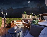 L shaped patio Landscape Design