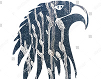 white background eagle illustration