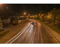 Roadlights in evening city