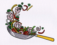 STIR FRY TOSSING FRYING PAN EMBROIDERY DESIGN