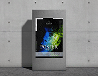 Glued Paper Poster on Pillar Mockup Free