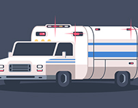 Flat Design - Ambulance Speedart Illustration