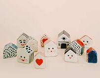 Tiny ceramic houses