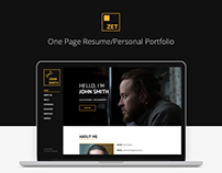 ZET - One Page Resume/Personal Portfolio HTML Template
