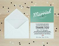 Modern Wedding Thank-You Card/Program (Mint)