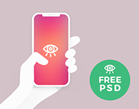 Vector iPhoneX in Hand / Free PSD