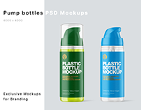 Plastic Bottles with Pump Mpckups PSD
