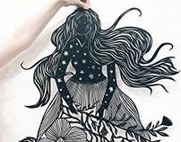 Night field paper cut dress