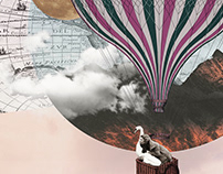 Pink Flight   Digital Collage