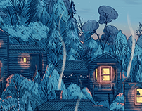 Houses after dark - Illustration