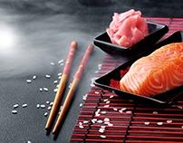 Sushi.Ingredients for sushi.Sushi making process