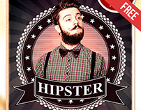 Hipsters Party – Free Flyer PSD Template + Facebook