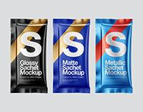 5 Sachets PSD Mockups