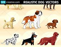 Realistic dog vector pack Dalmatian, Dobermann, Poodle