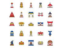 Indonesia Landmarks Icons Set