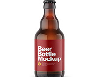 Amber Beer Bottle Mockup