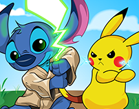 Stitch and Pikachu