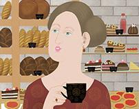 """Illustration """"In a cafe """"Volchik"""" Petersburg"""