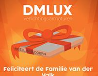 Felicitatie kaart DMLUX naar van der Valk Apeldoorn