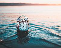 Alarm clock on the sea, stock photography photoset