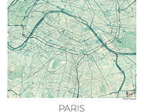 Paris, France. Blue vintage watercolor map poster