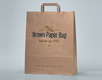 Free HQ Brown Paper Shopping Bag Packaging Mock-Up PSD
