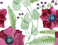 Watercolor anemone flowers patterns